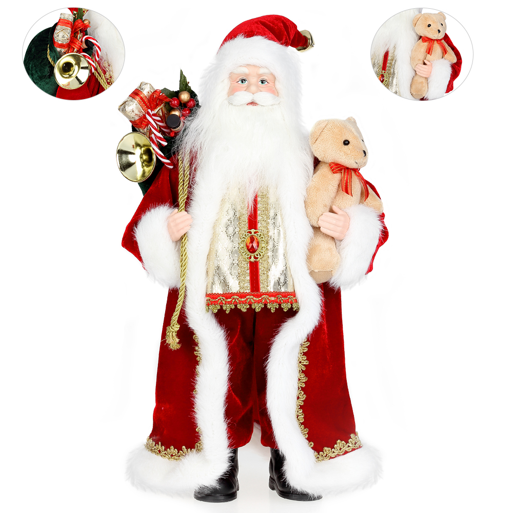 weihnachtsmann 46cm weihnachten nikolaus figur stehend. Black Bedroom Furniture Sets. Home Design Ideas