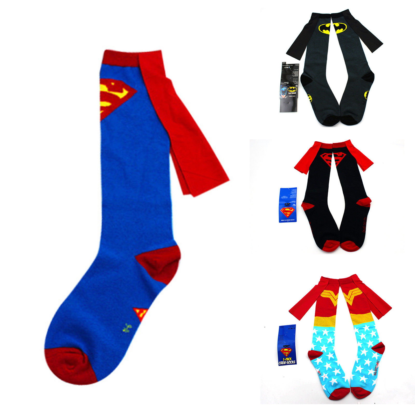 ee947e2792e Unisex Superhero Superman Batman Knee High Socks With Cape Soccer Cosplay  Socks