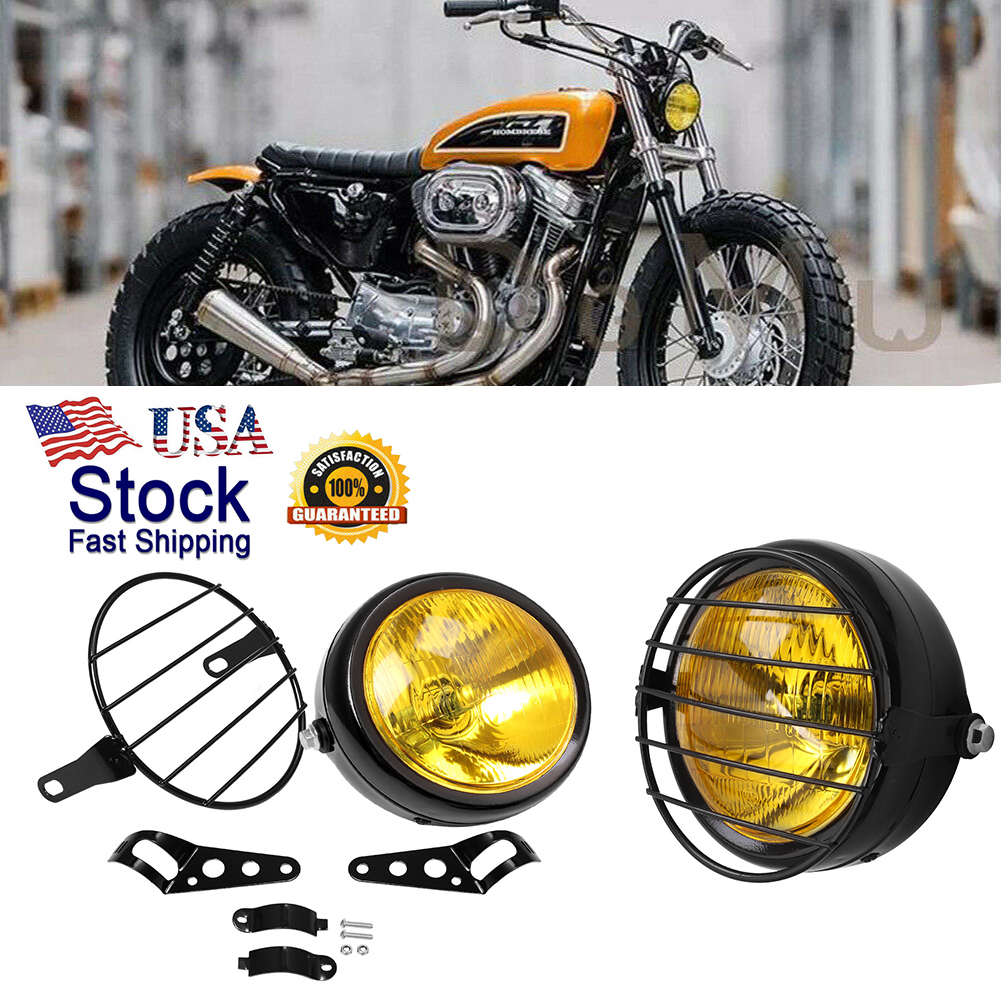Retro Motorcycle LED Headlight W// Bracket Grill Side Mount Cover Mask For Harley