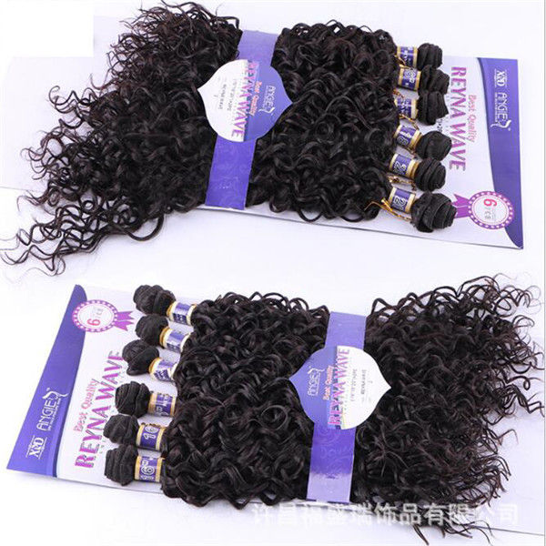 6pcs Ombre Synthetic Hair Weave Weft Black Women Kinky Curly Wave