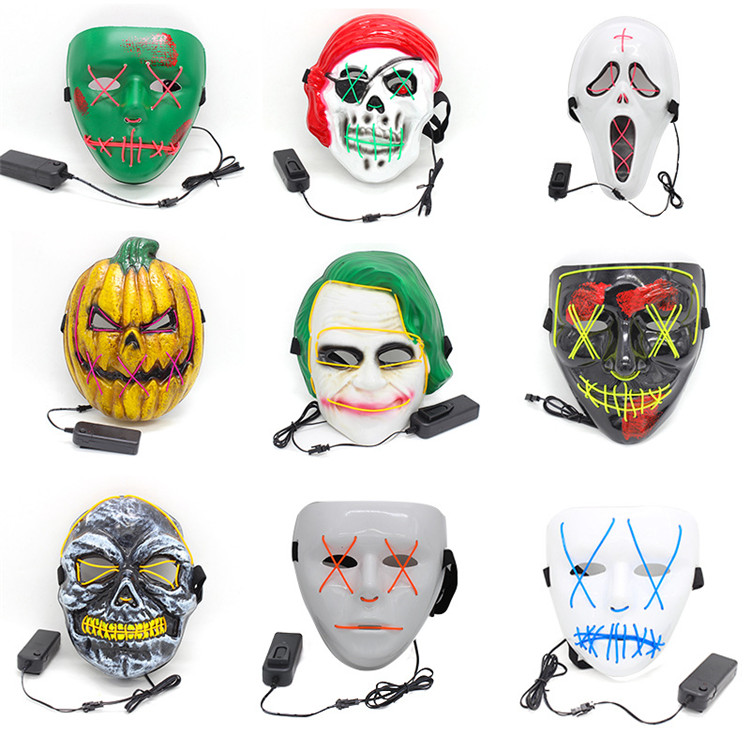 Halloween Mask Scary LED Light Up Glowing Clown Mask Cosplay Full Face Mask Prop