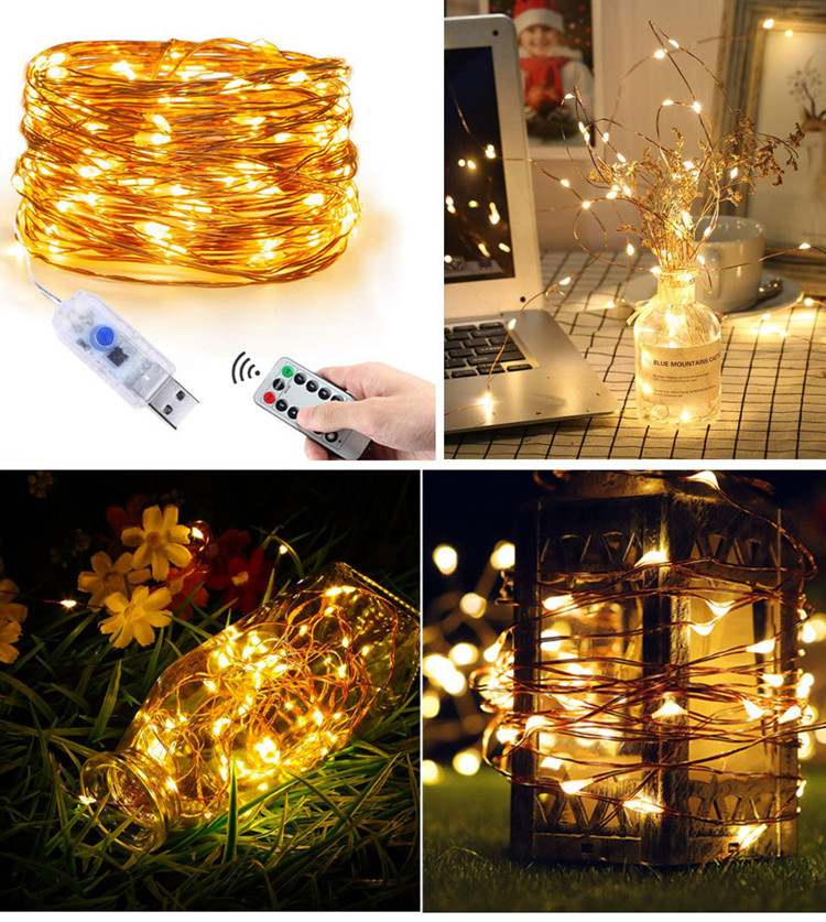 separation shoes 5527b b794e Details about 5M/10M LED String Lights Copper Wire Lights USB powered  halloween party decor