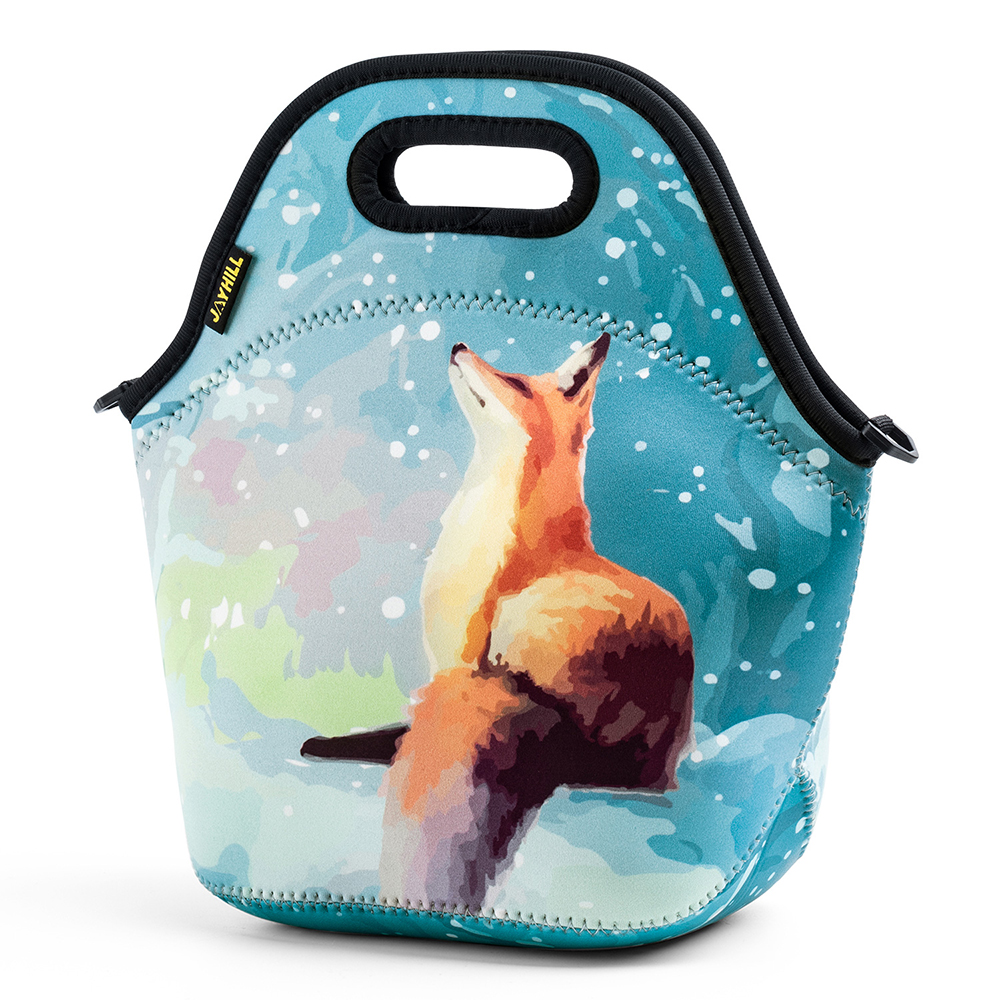 54b1f8237456 Details about Insulated Lunch Bags for Women Tote Office Picnic Neoprene  Kids Fox Lunch Bag