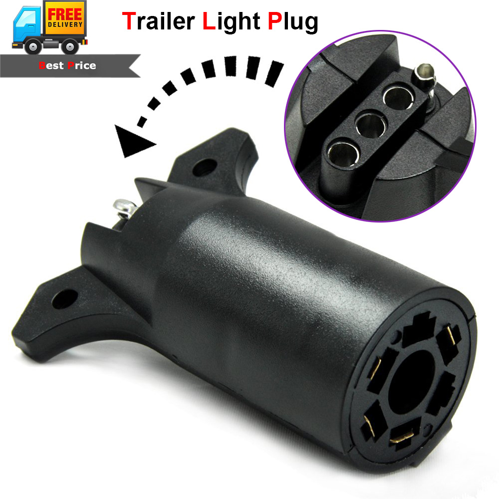 Tow Trailer Light Adapter Plug Connector Round 7 Way To 4 Pin Flat Rv Boat Trunk