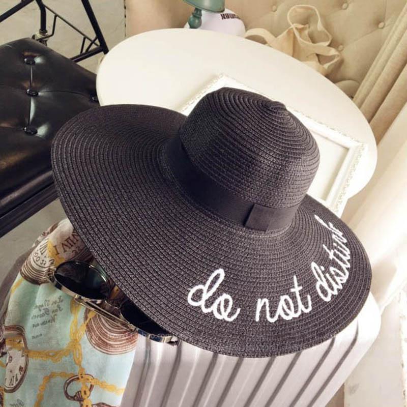 e077024147a113 Letter Embroidery Cap Lady Big Brim Summer Straw Hat Women Shade Sun Beach  Hats