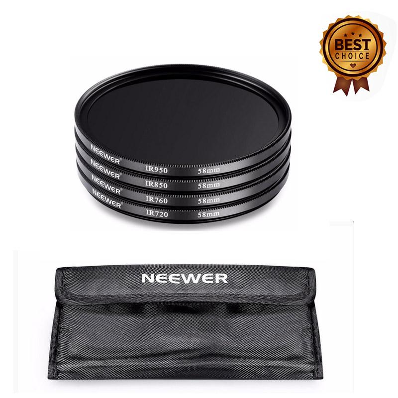 Neewer 4 Pieces 58mm Infrared X Ray IR Filter Set IR720 IR760 IR850