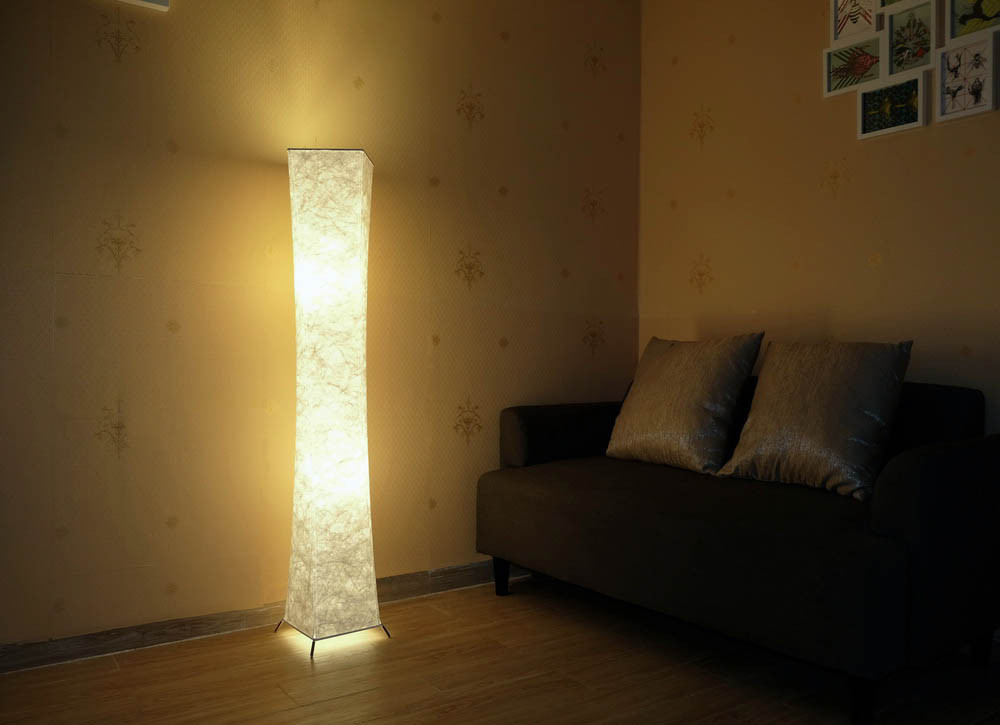 52 Dimmable Floor Lamp Rgb Color Remote Control Led Tyvek Fabric Shade W 2bulbs Ebay