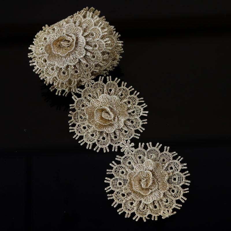 1Yard Flower Embroidery Lace Trim Wedding Bridal Polyester Belt Sewing Decor DIY