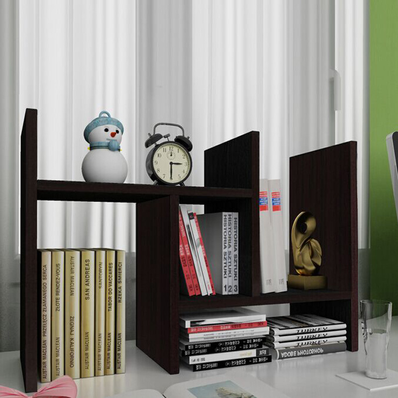 Details about Adjustable DIY Wood Desk Top Book Shelf Rack Storage  Organizer Office Bookcase
