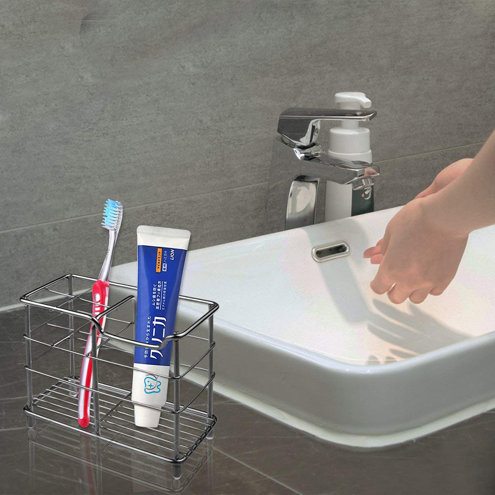 6 Holes Stainless Steel Toothbrush Holder Toothpaste Stand Storage Organizer GA