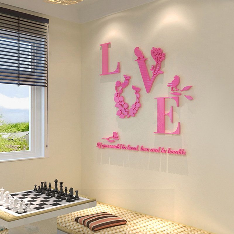 3D Sweet LOVE Acrylic Crystal Wall Stickers Living Room Bedroom TV ...