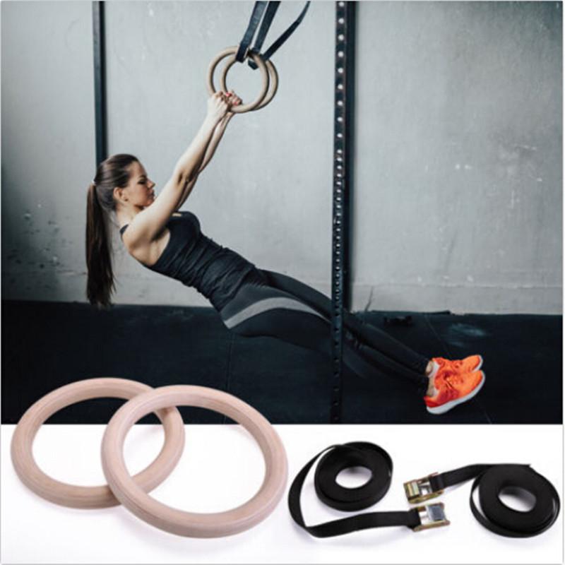 2X Profi Holz Gym Ring Turnringe Gymnastikringe Gymnastik Fitness Training 400KG