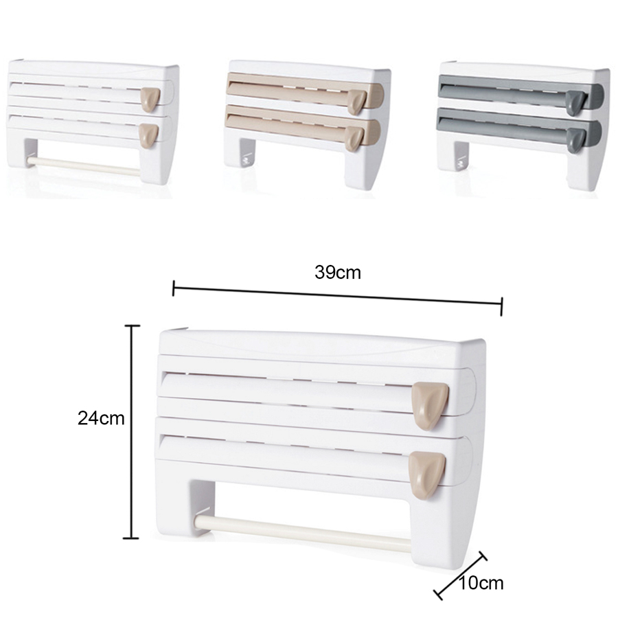4 In 1 Wall Mount Kitchen Paper Holder Plastic Wrap