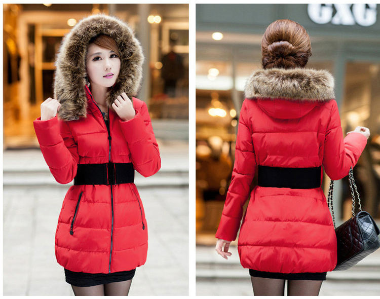 Fashion Women Ladies Winter Down Cotton Parka Long Fur Collar ...