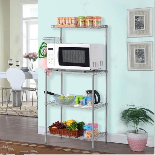 3 Tiers Kitchen Bakeru0027s Rack Microwave Oven Stand Storage Cart Workstation  Shelf