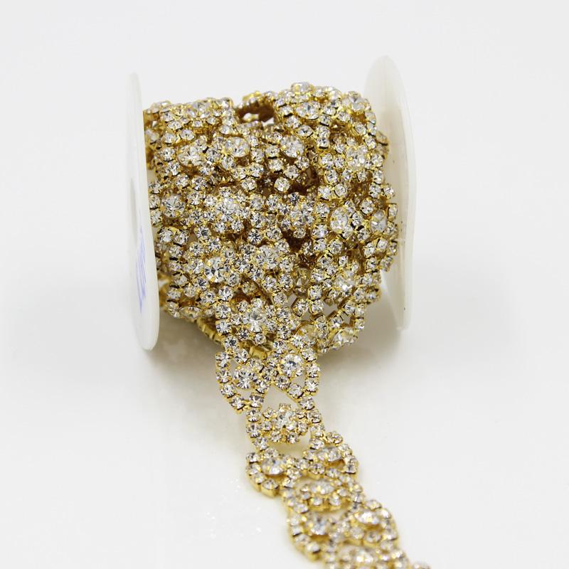 For Wedding 1 Yd Rhinestone Chain Bridal Dress Sewing Trimming Applique Craft