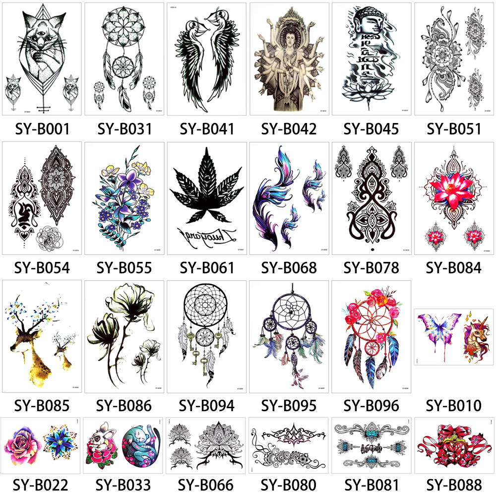 Body Tattoo for Women Men Image Makeup Sticker Temporary Colored ...