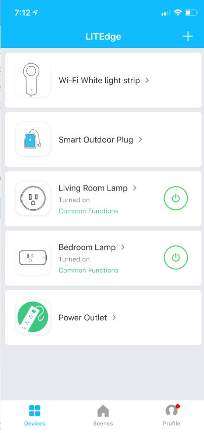 The LITEdge app serves as the home automation hub for your smart home.