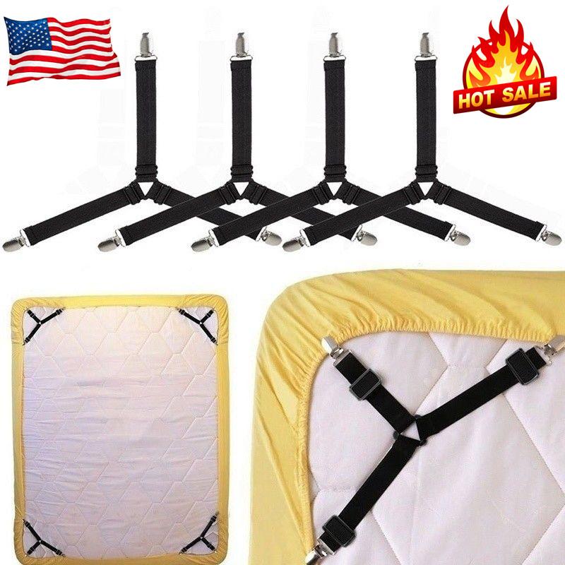 4X Bed Suspender Strap Adjustable Mattress Fastener Triangle Mattress SheetClips