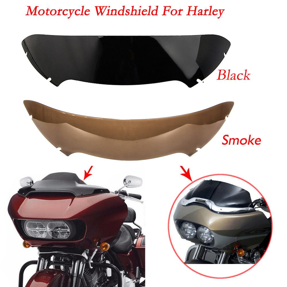 "Black Smoke 9/"" Wave Windshield Windscreen For Harley Touring Road Glide 1998-13"