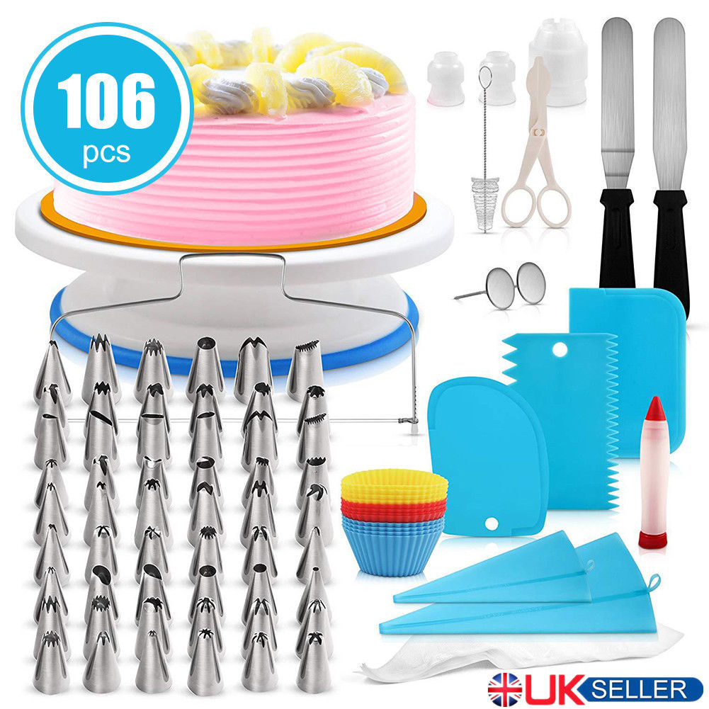 Details About 106pcs Set Cake Decorating Supplies Pieces Kit Baking Tools Turntable Stand Pen