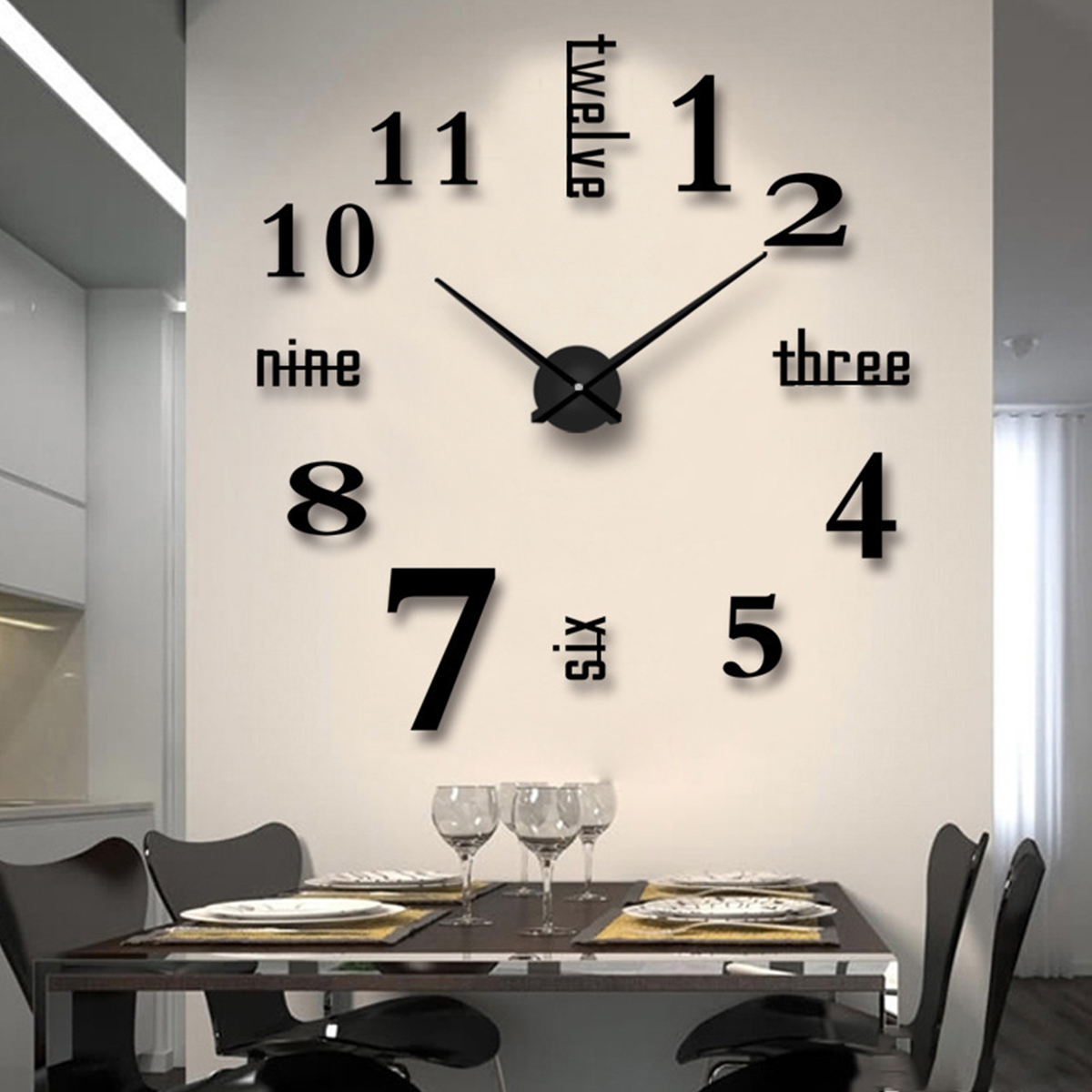 Modern Large Wall Clock 3d Mirror Sticker Unique Big