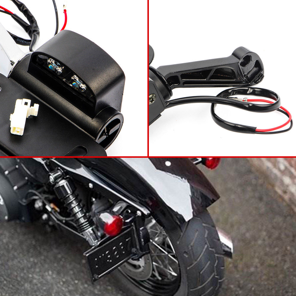 Side Mounted License Plate Tail Light Holder Fit for Harley Sportster 883 1200XL