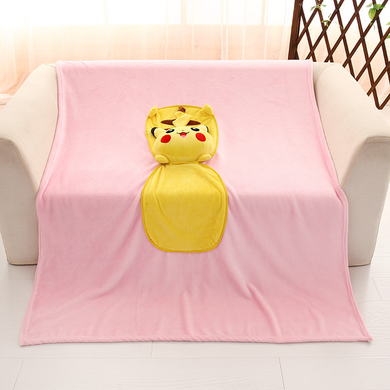 NEW Soft Pokemon Pikachu Bed Throw Pillow Blanket 2 in 1 Gift for baby