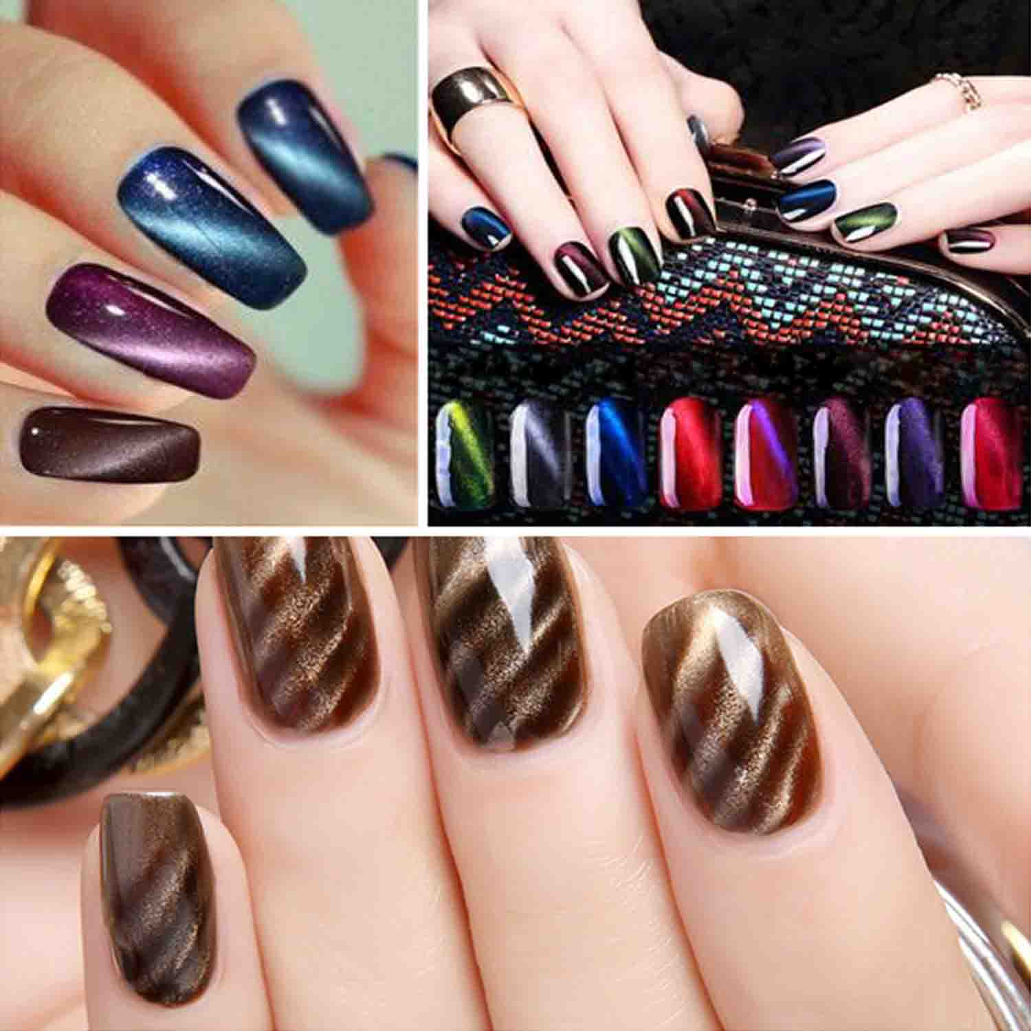 Newest 3pcs 10ml Cat Eyes Nail Art Manicure UV LED Nail Gel Polish ...