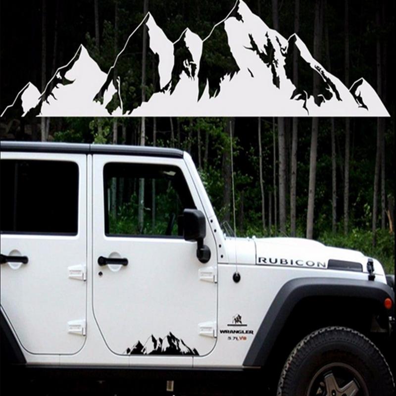 1Pc 19.9in Car PET Camper Mountain Range Sticker Door Body Graphics Decal Black