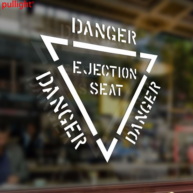 15*13cm Danger Ejection Seat Warning Vinyl Car Stickers Interior Bumper Decal