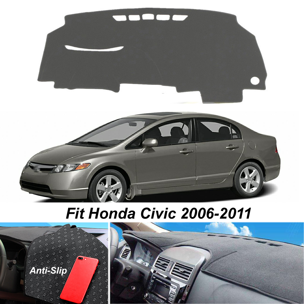 Dash Mat Cover For Honda Civic Acura CSX 2006-2011 Black