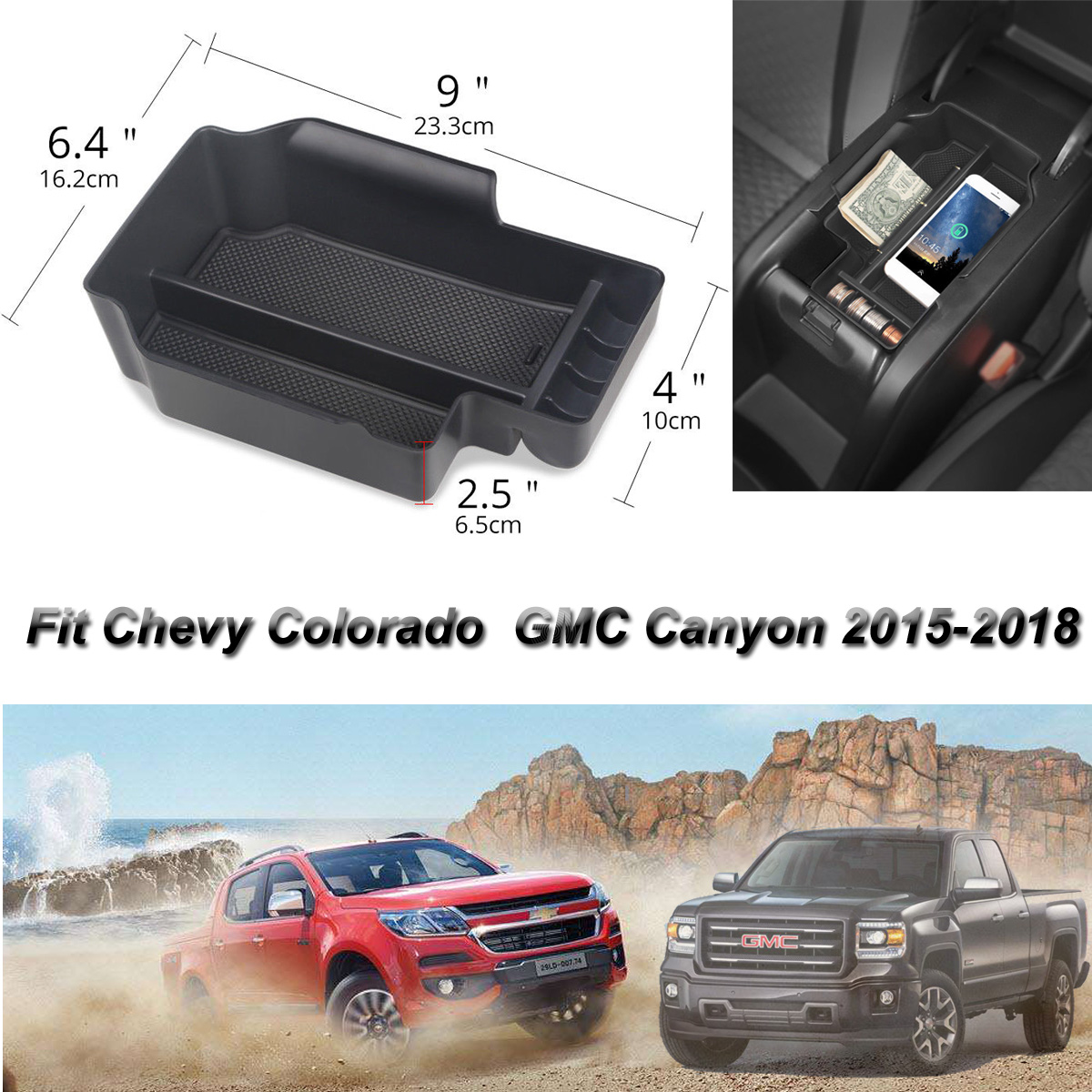 Fit 15-19 Chevy Colorado//Gmc Canyon Center Console Organizer Tray Storage Box