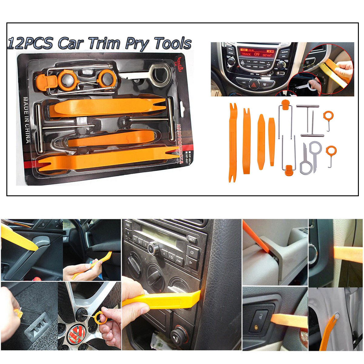 12pcs Car Audio Door Clip Panel Trim Center Console Radio Removal Pry Tool