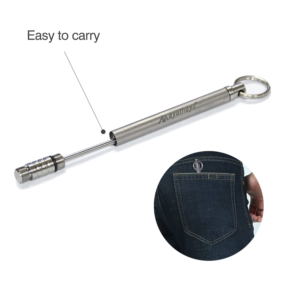 Pure Titanium Toothpick Holder Fruit Fork Keyring Outdoor Camping Keychain Tool.