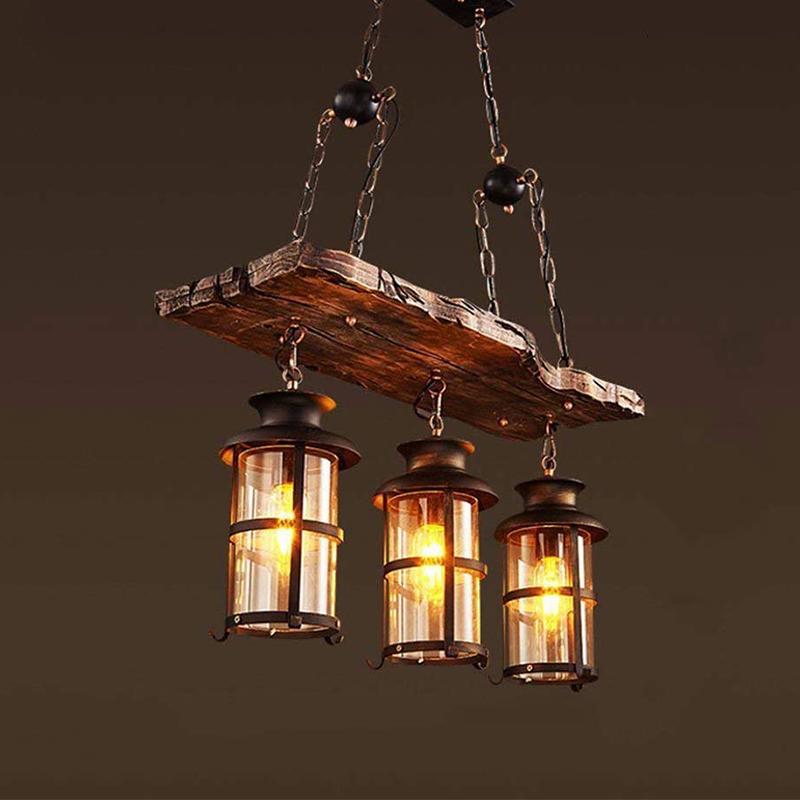 Details About Retro Wood Chandelier Iron Ceiling Lamp Rustic Pendant Light Fixtures