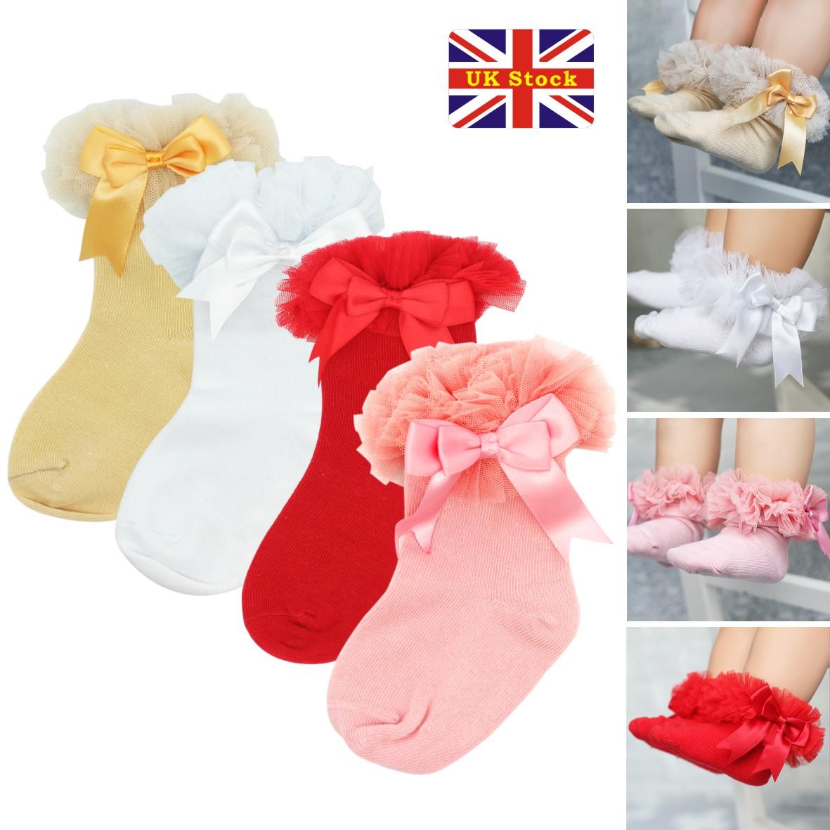 b58eddd14b83 Baby Girls Tutu Socks Bow Lace Newborn Infant Frilly Sock Cotton Short Socks  UK