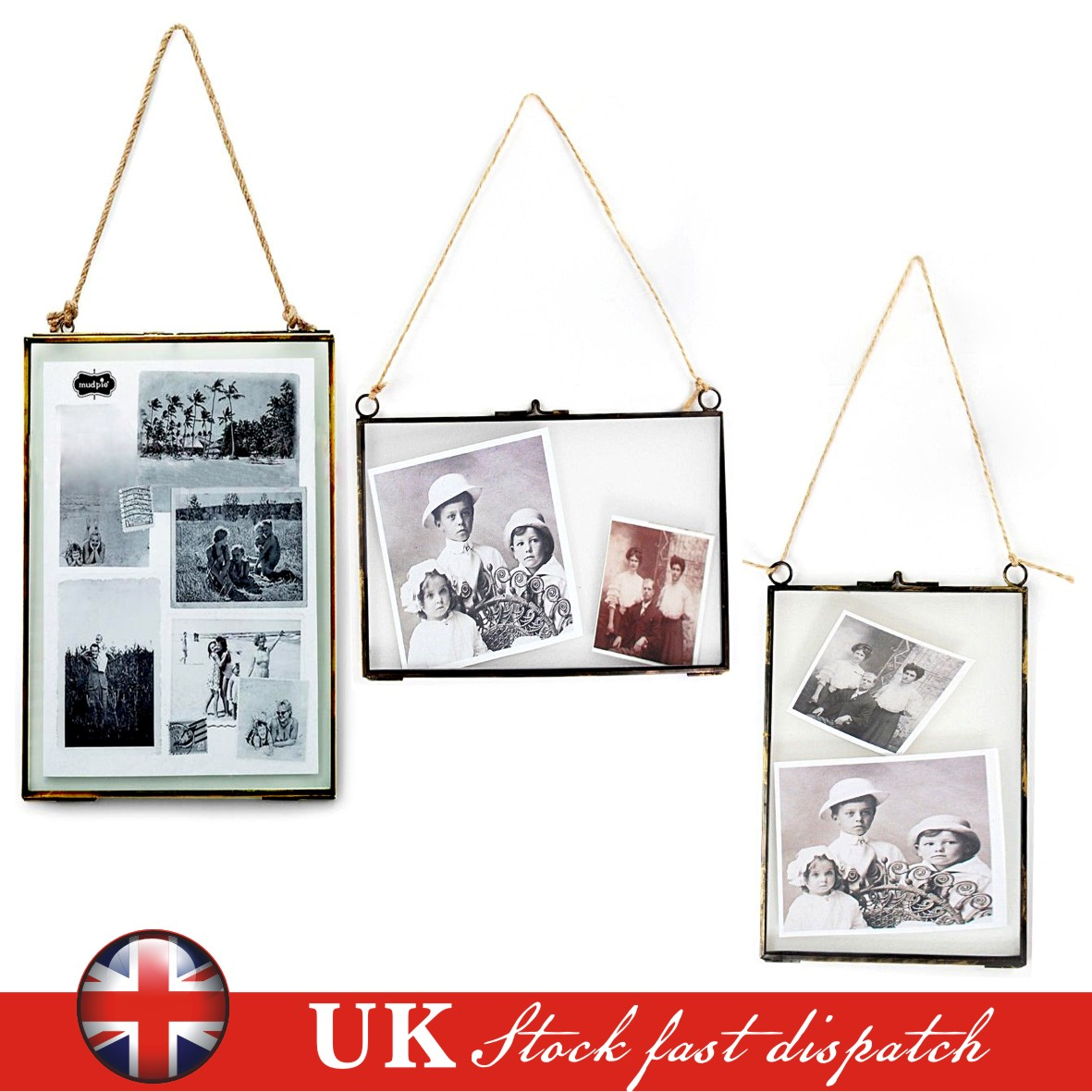 Metal + Glass Double Sided Hanging Photo Picture Frame Vintage ...