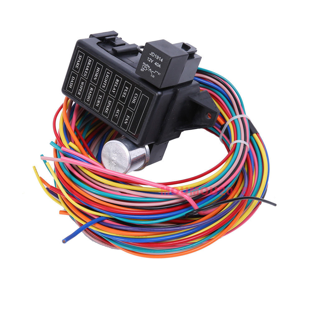 Details about 12 Circuit Basic Wire Harness Fuse Box Street Hot Rat on