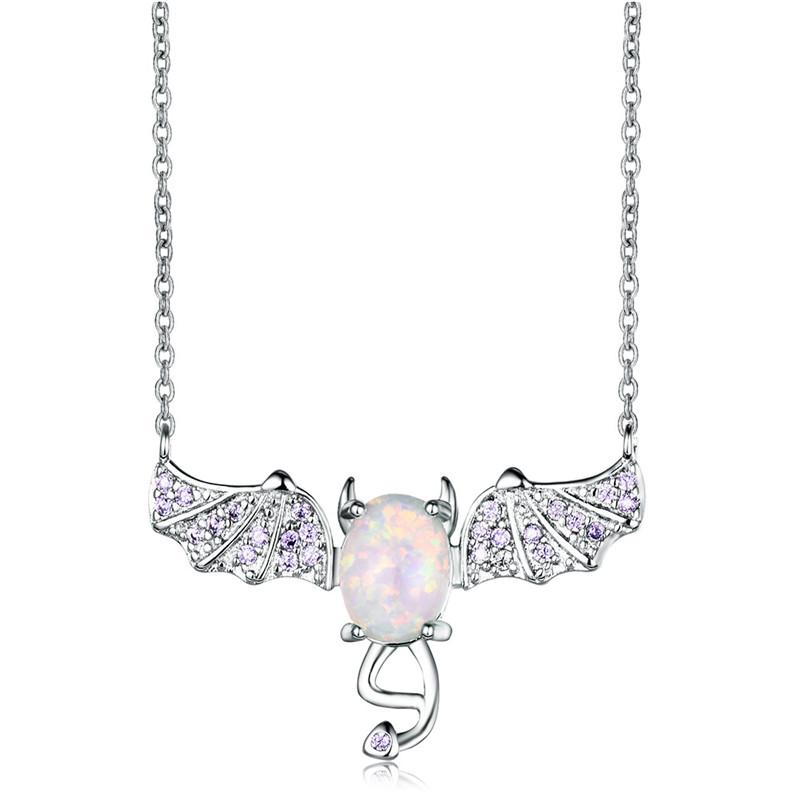 Fashion Lady Silver Bat White Imitation Opal Pendant Necklace Wedding Jewelry