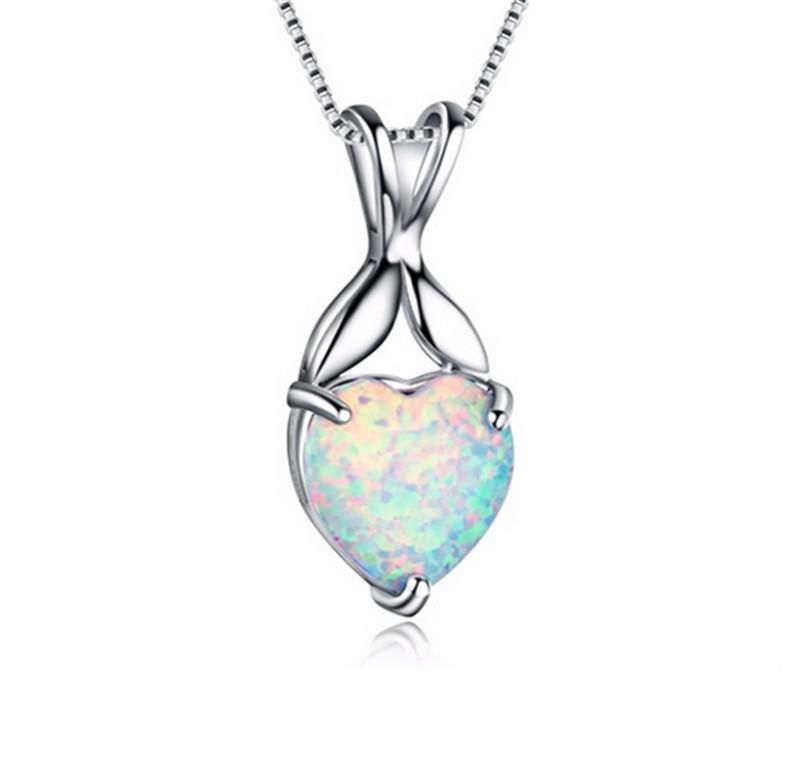 Silver Necklace White Imitation Opal Umbrella Pendant Xmas Birthday Gift Jewelry