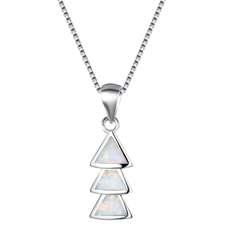 Fashion Lady Silver Penguin White Opal Pendant Necklace Wedding Jewelry Gift