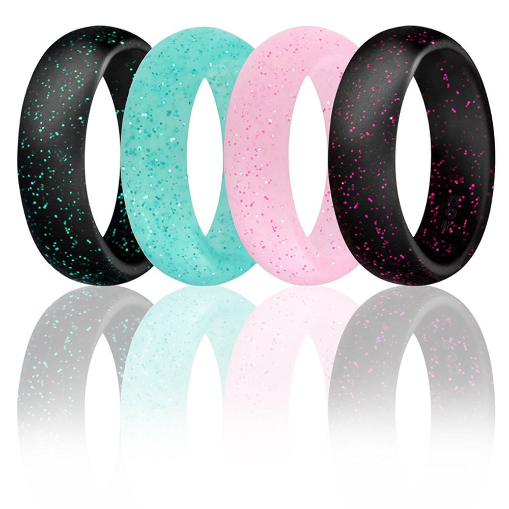 Men Women/'s Glitter Metallic Ring Silicone Rubber Wedding Bands Pearl Powder Fit