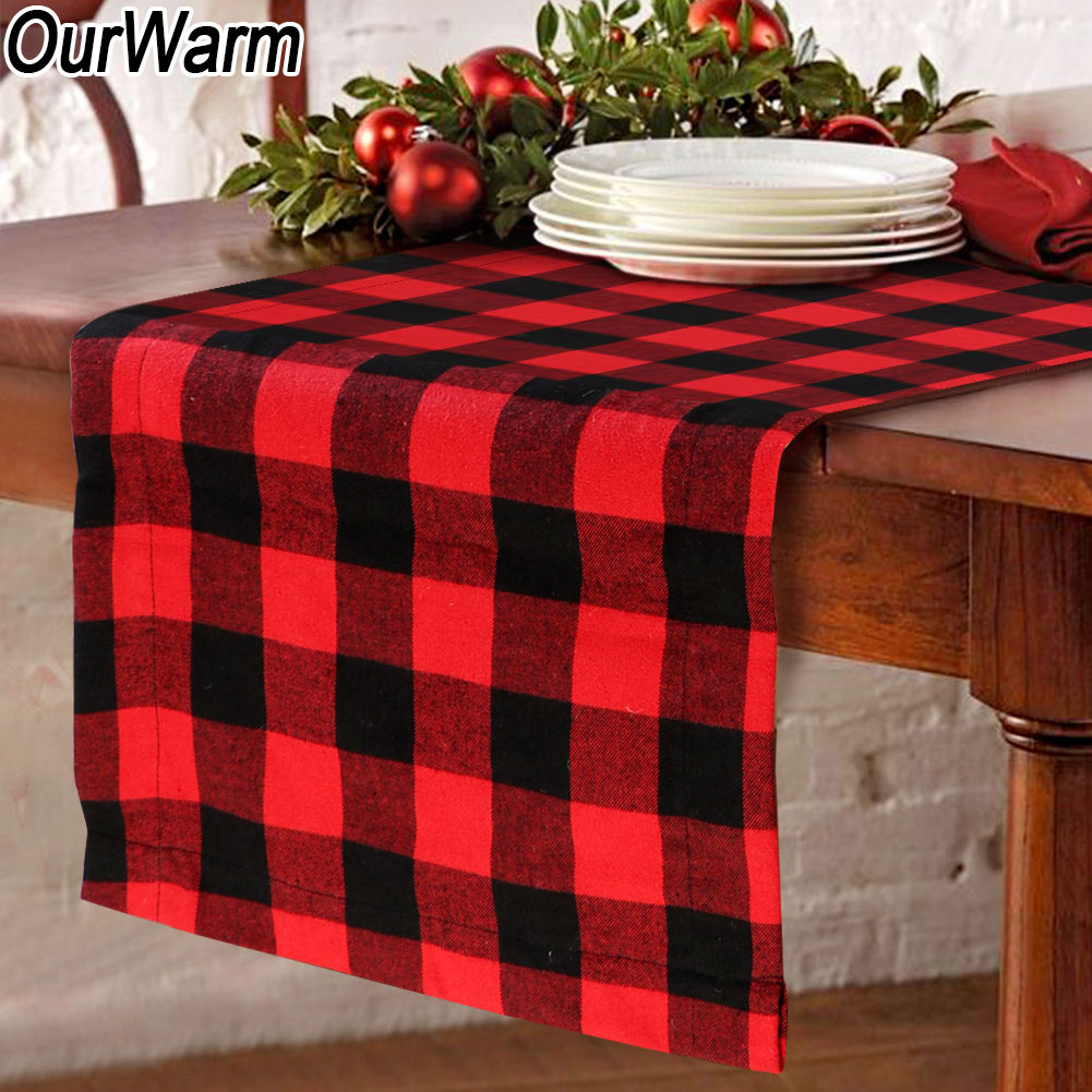 Christmas Table Runner.Details About Ourwarm Burlap Christmas Table Runner Buffalo Plaid Lumberjack Baby Shower Decor