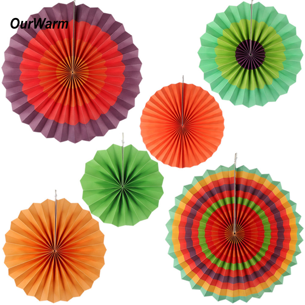 12x Paper Fan Flowers Tissue Mexican Fiesta Wedding Birthday Party
