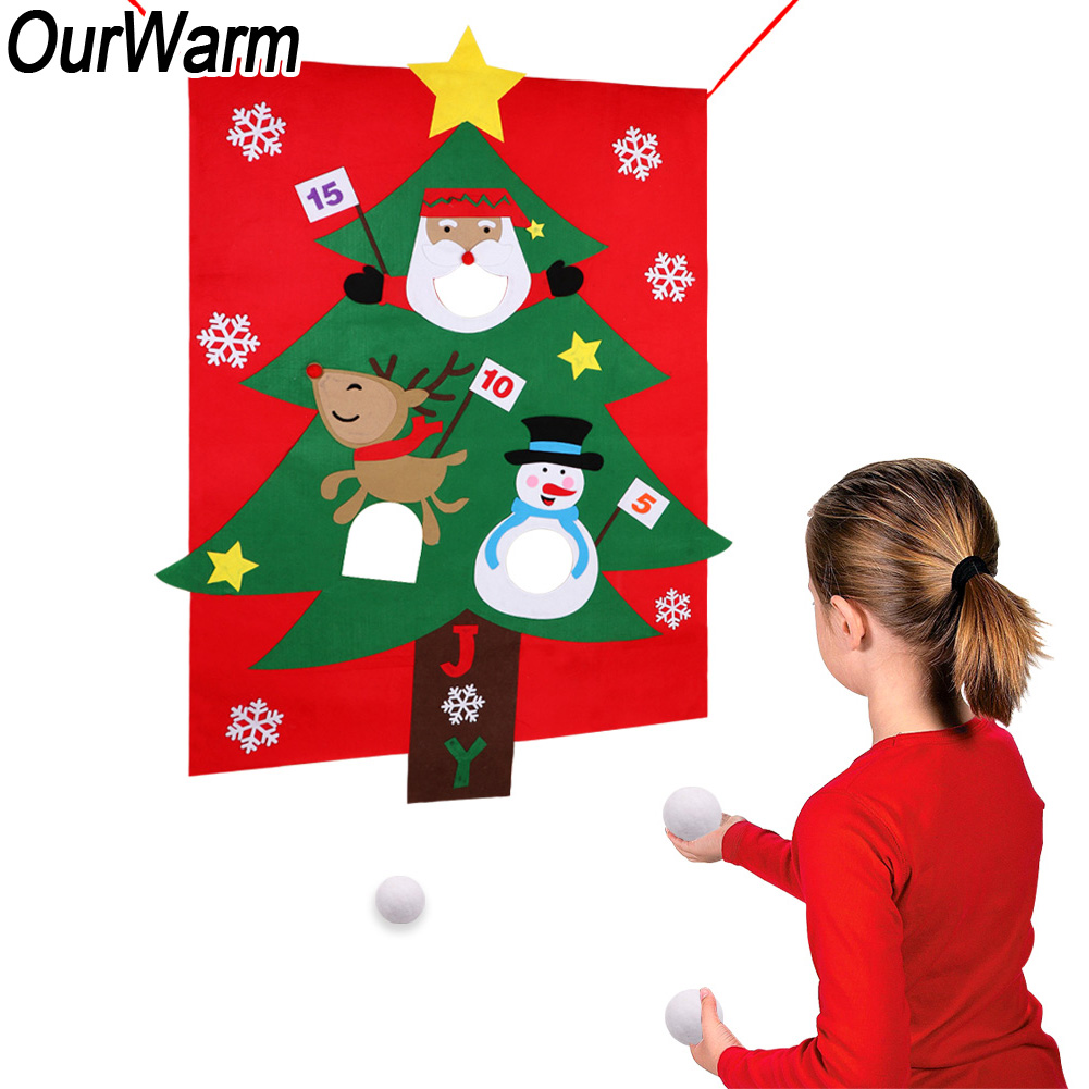 Details about Hanging DIY Felt Christmas Tree Pom Bean Bag Toss Game Kid New Year Outdoor Game
