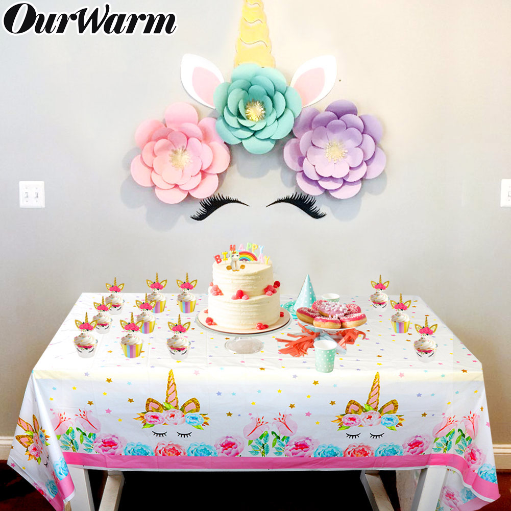 Unicorn tablecloth disposable party table cover for kids birthday party decor DS