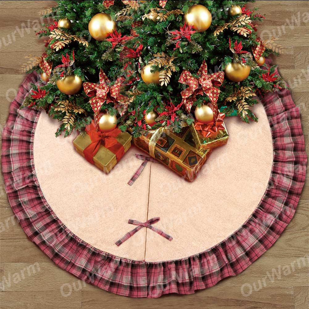 48 black and red plaid burlap christmas tree skirt ruffle edge xmas ornaments - Red And Black Plaid Christmas Decor