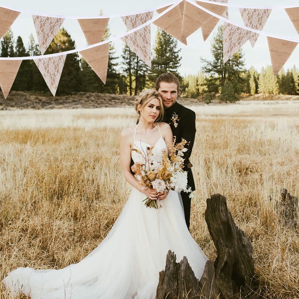 3M White Wedding Lace Flag Banner Burlap Wedding Party Banner Background Decor