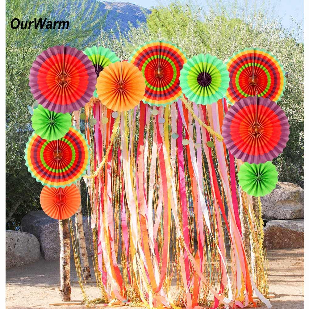 12x Paper Fan Flowers Tissue Mexican Fiesta Wedding Birthday Party